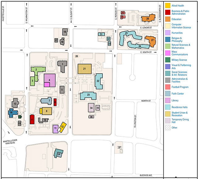 Shaw University Campus Map - U of a campus map