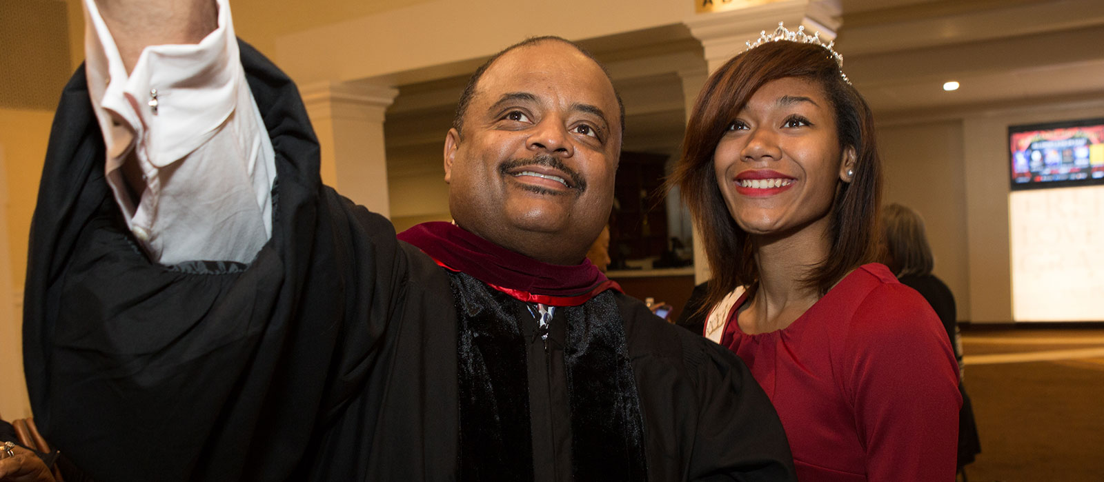 Roland Martin with Shaw University student